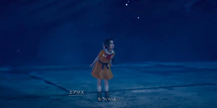 Aerith playing hide and seek in the Ghost Train scene from FF7R