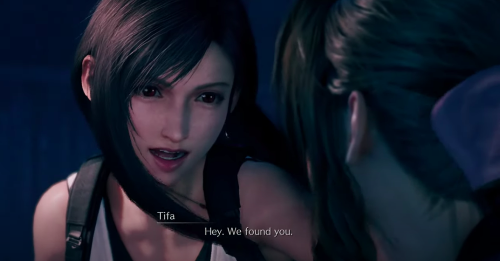 Tifa finds Aerith in the Ghost Train scene